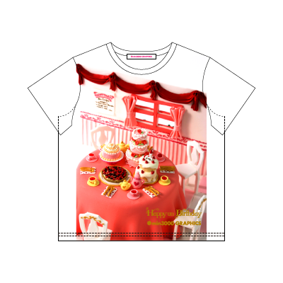 min3000 GRAPHICS オリジナルグッズ:TEA PARTY WITH MANY CAKES T-SHIRT (デザインTシャツ)