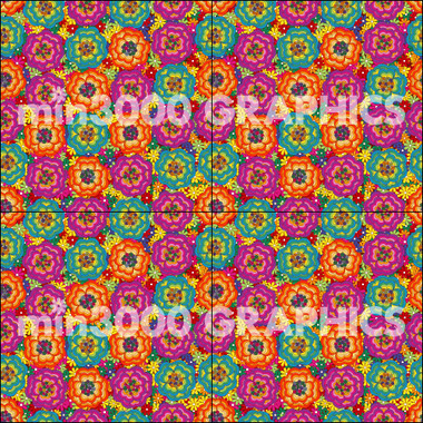 min3000 GRAPHICS オリジナルグラフィックパターン:PSYCHEDELIC FLOWERS (General View)